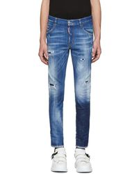 DSquared² - Blue Acid Green Spots Skinny Dan Jeans - Lyst