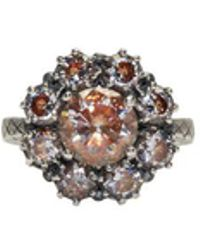 Bottega Veneta - Silver Flowers Zircon Ring - Lyst