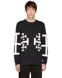 Neil Barrett - Black Long Sleeve Jerusalem Cross T-shirt - Lyst
