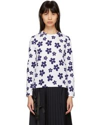 Comme des Garçons - White And Navy Flower T-shirt - Lyst