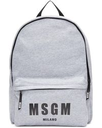 MSGM - Grey Jersey Logo Backpack - Lyst