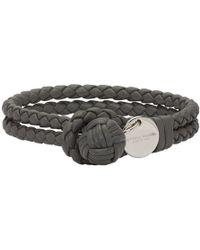 Bottega Veneta - Grey Intrecciato Knot Bracelet - Lyst