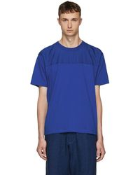 KENZO - Blue Panelled Jersey T-shirt - Lyst