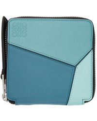 Loewe - Portefeuille a glissiere bleu Square Puzzle - Lyst