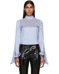 Erdem - Blue And White Silk Striped Lindsay Blouse - Lyst