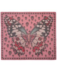 Alexander McQueen - Pink And Black Giant Butterfly Skull Scarf - Lyst