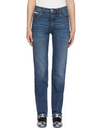 ALEXACHUNG - Blue Triple Stitch Frayed Jeans - Lyst