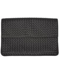 Bottega Veneta - Black Intrecciato Flap Document Holder - Lyst