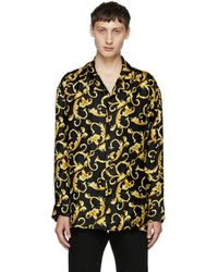 Versace - Black And Gold Printed Pyjama Shirt - Lyst