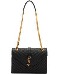 Saint Laurent - Black Medium Envelope Monogramme Chain Bag - Lyst