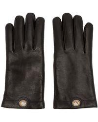 Gucci - Gants a logo en cuir noirs - Lyst