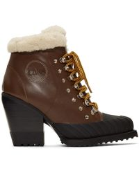 Chloé - Brown Lined Rylee Mountain Boots - Lyst
