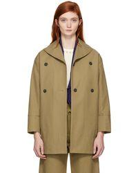 Carven | Beige Cotton Coat | Lyst