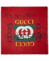 Gucci - Red Tomorrow Logo Shawl - Lyst