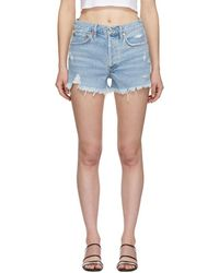 Agolde - Blue Denim Parker Shorts - Lyst