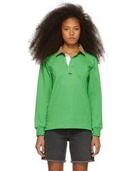 Noah - Green Corduroy Collar Rugby Polo - Lyst