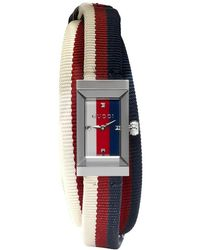 Gucci - Silver And Tricolor G-frame Watch - Lyst