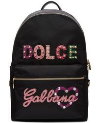 Dolce & Gabbana - Black Studded Logo Backpack - Lyst