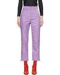 Marine Serre - Purple Moire Trousers - Lyst