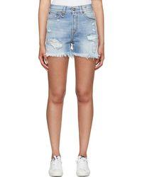 R13 - Blue Shredded Slouch Denim Shorts - Lyst