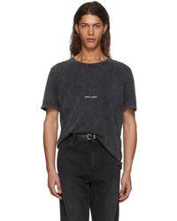 Saint Laurent - Grey Rive Gauche T-shirt - Lyst