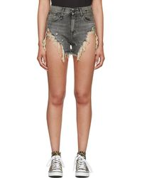 R13 - Black Shredded Slouch Denim Shorts - Lyst
