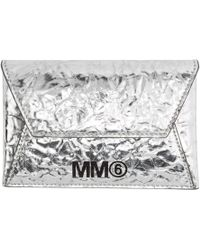 MM6 by Maison Martin Margiela - Silver Crinkled Card Holder - Lyst
