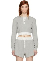 T By Alexander Wang - Grey Heavy Waffle Cropped T-shirt - Lyst
