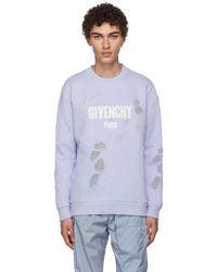 Givenchy | Blue Distressed Logo Sweatshirt | Lyst