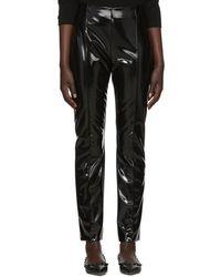 Valentino - Black Vinyl Skinny Trousers - Lyst