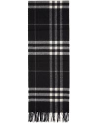 Burberry - Black Cashmere Giant Check Scarf - Lyst