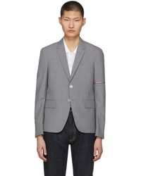 Thom Browne - Grey Selvedge Arm Placement Blazer - Lyst