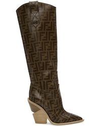 Fendi - Brown Forever Cowboy Tall Boots - Lyst