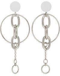 Miu Miu - Silver Chain Hoop Earrings - Lyst