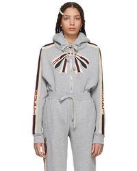 Gucci - Grey Bow Neck Logo Zip Hoodie - Lyst
