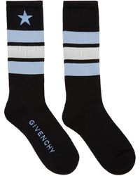 Givenchy | Black And Blue Stripes And Star Logo Socks | Lyst