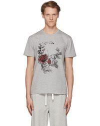 Alexander McQueen - Grey Gothic Rose Skull T-shirt - Lyst