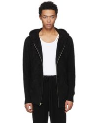 The Elder Statesman - Black Heavy Zip Hoodie - Lyst