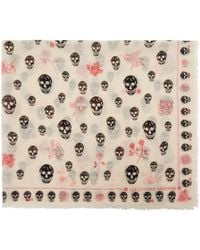 Alexander McQueen - Ivory Skull And Roses Scarf - Lyst