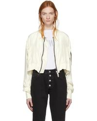Unravel - Off-white Silk Deconstructed Chop Bomber Jacket - Lyst