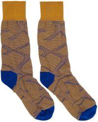 Issey Miyake - Blue And Orange Tape Socks - Lyst