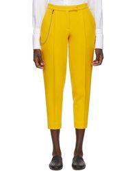 Bottega Veneta - Yellow Wool Cropped Trousers - Lyst