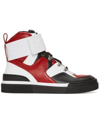 Balmain - Red And Black Cleveland High-top Sneakers - Lyst