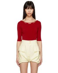 Carven - Red Basic Knit Bodysuit - Lyst
