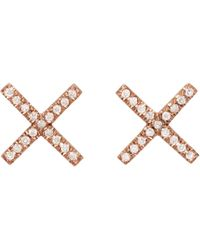 Eva Fehren | Rose Gold And Diamond X Studs | Lyst