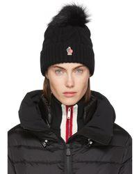 Moncler Grenoble - Black Cashmere & Fur Pom Pom Beanie - Lyst