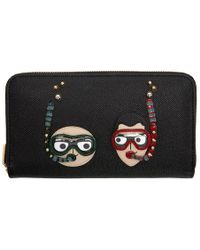 Dolce & Gabbana - Black Scuba Family Zip Around Wallet - Lyst