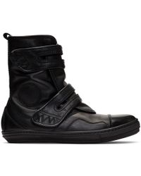 Diesel Black Gold - Black Leather High-top Trainers - Lyst
