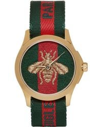 Gucci - Gold And Green Laveugle Par Amour Bee Watch - Lyst