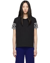 143832fe2 KENZO Black And White Mix Mesh Boxy Crop T-shirt in Black - Lyst